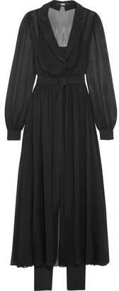 Karl Lagerfeld Satin-trimmed Silk-chiffon Wrap-effect Midi Dress - Black