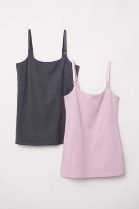 H&M MAMA 2-pack Nursing Tank Tops - Pink