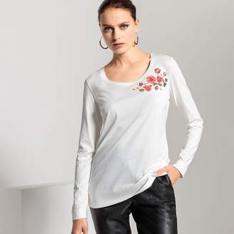 Anne Weyburn Scoop Neck Cotton T-Shirt with Embroidered Patch