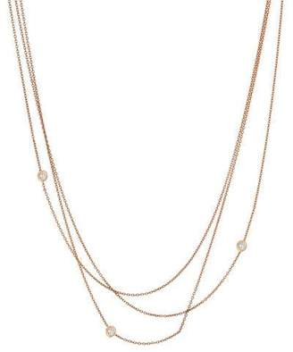Kismet by Milka Beads Multilayer Diamond Bezel Chain Necklace in 14K Rose Gold