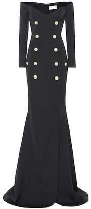 Balmain Off-the-shoulder wool gown