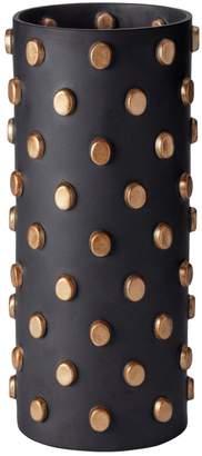 L'OBJET Large Teo Black Earthenware Vase