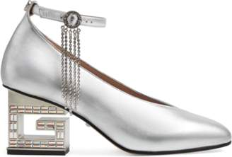 Gucci Mid-heel pump with crystal G heel