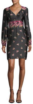 Nanette Lepore Dotted Satin Floral Border-Print Long-Sleeve Day Dress
