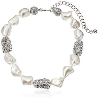 Kenneth Jay Lane and Rhodium Pave Bead Necklace