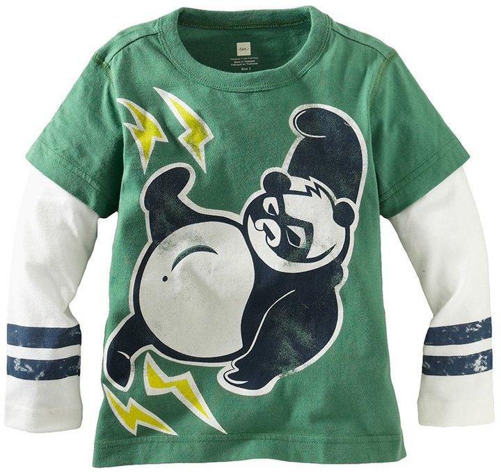 Tea Collection Super Panda Double Decker Tee - Kelly Green-3-6 Months