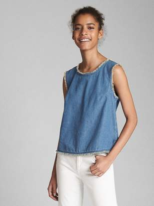 Gap Sleeveless Denim Top with Frayed Detail