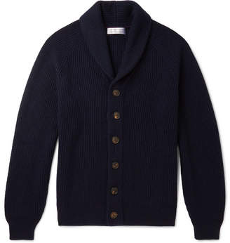 Brunello Cucinelli Shawl-Collar Ribbed Cashmere Cardigan - Midnight blue