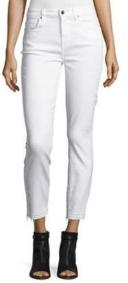 7 For All Mankind Jen7 by Skinny Ankle Jeans w/ Released Hem, White
