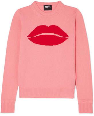 Markus Lupfer Mia Lip Intarsia Wool Sweater - Pink