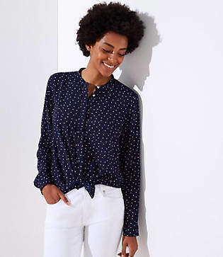 LOFT Dotted Utility Blouse