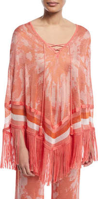 Talitha Collection Tie-Dye Poncho Top with Fringe Hem