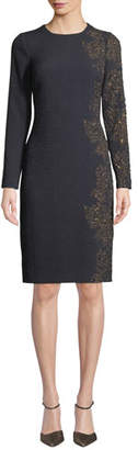 Rickie Freeman For Teri Jon Stretch-Knit Jacquard Sheath Dress