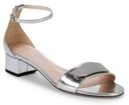 Bally Metallic Leather Ankle Strap Sandals