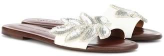 Veronica Beard Flor embellished leather slides