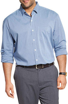 Van Heusen Mens Long Sleeve Cooling Plaid Button-Front Shirt Big and Tall