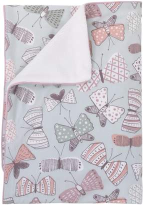 DwellStudio Dwell Studio Arden Butterfly Print Double Sided Cotton/Velour Blanket, Violet/Pink/Gray