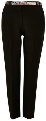 Wallis Black Snake Print Belt Trouser