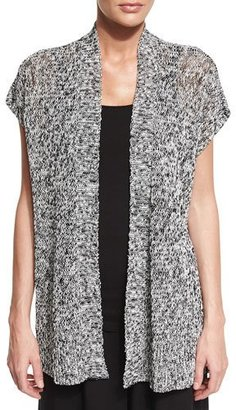 Eileen Fisher Short-Sleeve Melange Linen Grain Twist Cardigan, Black $218 thestylecure.com