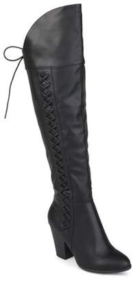 Co Brinley Women's Distressed Faux Leather Faux Lace-up Over-the-knee Boots