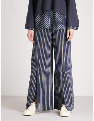 ARJE Cori striped wide-leg high-rise woven trousers