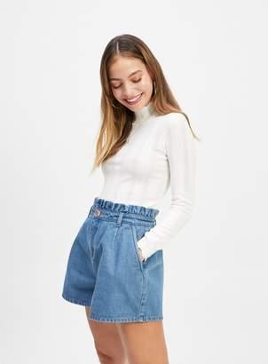 Miss Selfridge PETITE Blue Paper Bag Denim Shorts