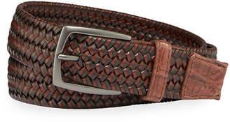 W.KLEINBERG W. Kleinberg Men's Woven Leather Stretch Belt with Crocodile Trim