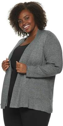 Dana Buchman Plus Ribbed Long Sleeve Cardigan
