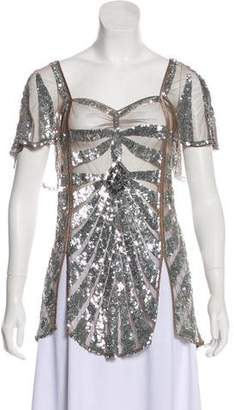 Temperley London Mesh Embellished Blouse