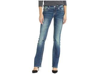 Miss Me Cross Bootcut Jeans in Medium Blue