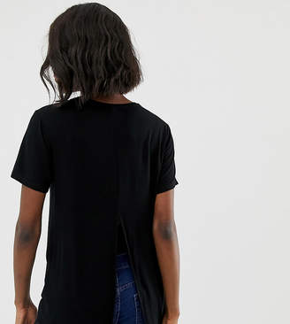 Asos DESIGN Maternity t-shirt with drapey split back in black