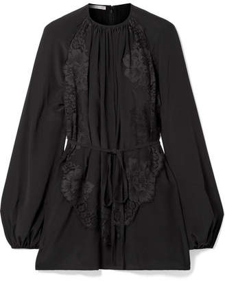 Stella McCartney Belted Pleated Lace-appliquéd Silk Blouse - Black