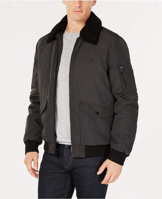 Calvin Klein Men Bomber Jacket with Sherpa-Fleece Collar