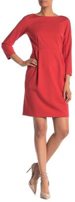 Lafayette 148 New York 3\u002F4 Sleeve Pleated Dress