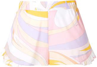 Emilio Pucci ruffle-trim printed shorts