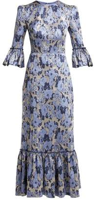 The Vampire's Wife - Festival Floral Jacquard Ruffle Trimmed Dress - Womens - Blue Print
