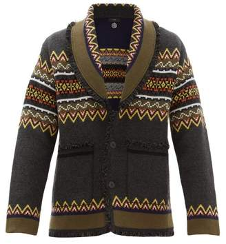 Alanui Shawl Collar Fair Isle Cashmere Cardigan - Mens - Brown Multi