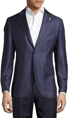 Lubiam Men's Notch-Lapel Check Wool Jacket