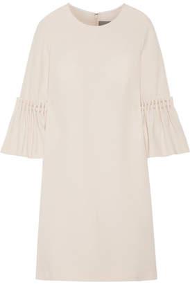 Lela Rose Faux Pearl-embellished Wool-blend Crepe Mini Dress - Cream