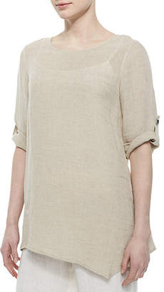 Caroline Rose Crinkled Asymmetric Linen Tunic