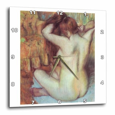 3dRose Nude Woman Combing Her Hair by Edgar Degas, Wall Clock, 10 by 10-inch