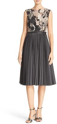Women's Tracy Reese Yarn Dye Check Lace Bodice Dress $548 thestylecure.com