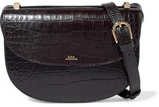 A.P.C. Genève Croc-effect Leather Shoulder Bag - Dark brown
