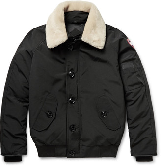 Canada Goose Foxe Shearling and Leather-Trimmed Shell Down Bomber Jacket $845 thestylecure.com