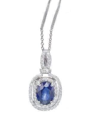 Effy 14K Sapphire and Diamond Pendant in White Gold