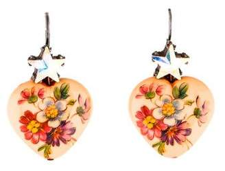 Gas Bijoux Crystal & Enamel Floral Heart Drop Earrings