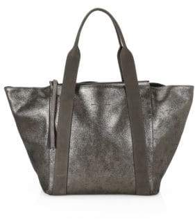 Brunello Cucinelli Metallic Leather Zip Tote