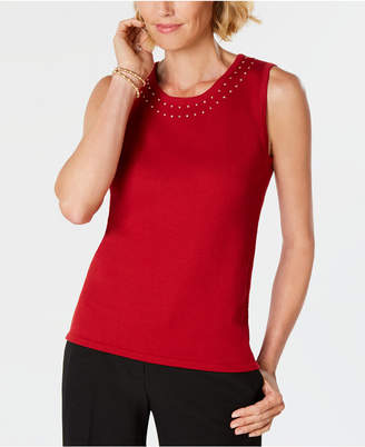 Kasper Embellished Scoop-Neck Shell