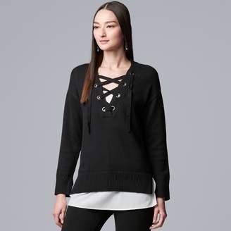 Vera Wang Women's Simply Vera Mock-Layer Lace Up Sweater