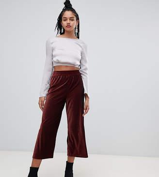 Miss Selfridge cropped wide leg trousers in burgundy